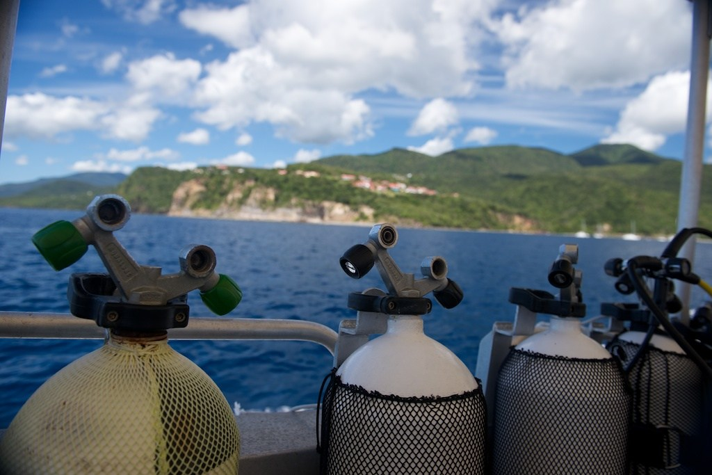 Scuba diving equipment at the Jacques Cousteau Underwater Reserve near Pigeon Island.